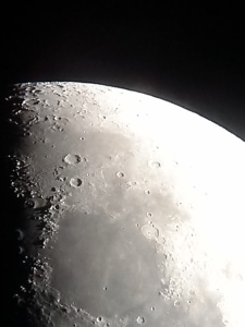 Our moon.  Our guide placed Dan´s smartphone on the telescope´s eyepiece and shot this photo.